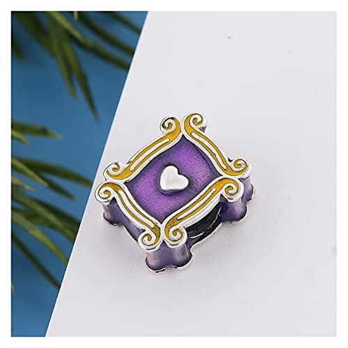 JIAQ Pulsera de Encanto 925 Sterling Silver Friends Square Purple Photo Frame Bead para Hacer Mujeres Berloque 2021