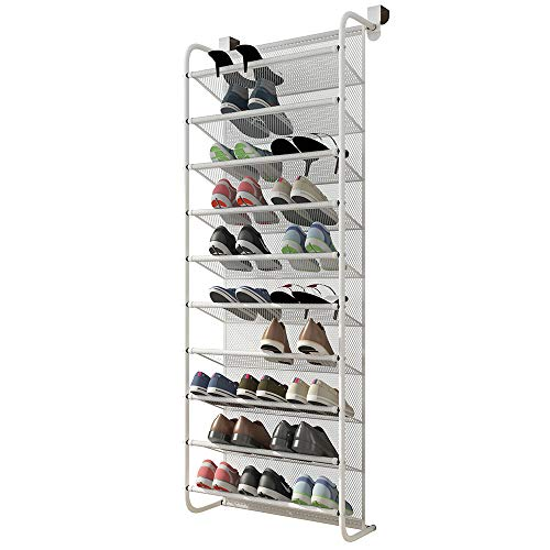 FKUO 10-Tier Over The Door Shoe Organizer Hanging Shoe Storage with 2 Customized Strong Metal Hooks for Closet Pantry Kitchen Accessory - Space Saving Solution 10 Layer White
