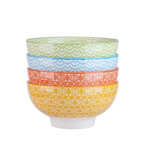 vancasso Natsuki 4-teilig Porzellan Schalen Set, Ø 15,2 cm Müslischalen, Mehrfarbig, Dessertschalen