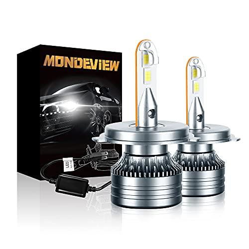 MONDEVIEW Kit H4 LED 60W 16000LM 6000K Bombilla H4 LED 9003 Coche...