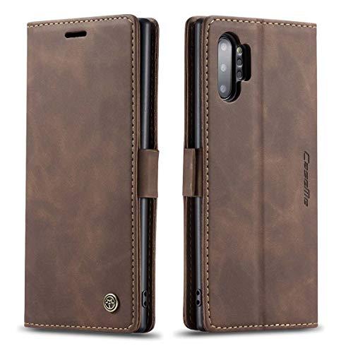 mvced Funda para Samsung Galaxy Note 10 Plus,Funda Móvil Funda Libro con Tapa Magnética Carcasa,Café