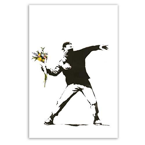Banksy Leinwandbilder hochkant - Kunstdrucke auf Leinwand I Wandbilder für zuhause, Street Art Graffiti Bild (div. Formaten) (Blumenwerfer, 30x40 cm)