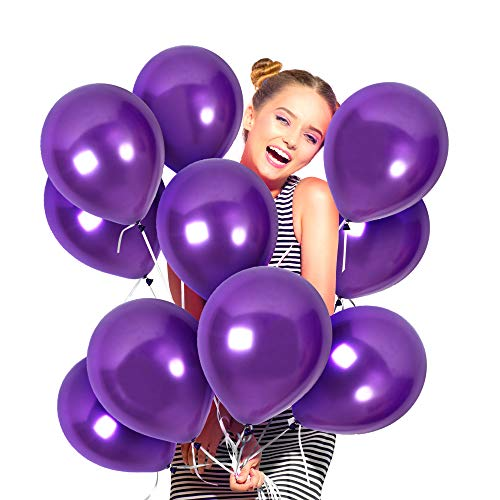 Treasures Gifted 100 Pieces of 12 Inch Violet Purple Thick Latex Metallic Balloons and 65 Yards Curling Ribbons for Wedding Bridal Baby Shower Decorations