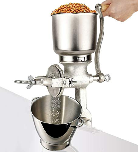 Moongiantgo Corn Grinder Mill Cast Iron Manual Grain Mill Hand Grinder with Large Hopper for Corn Barley Wheat Berries Coffee Chickpeas Poppy Seeds Pepper Dried Beans Animals Feed Home Brewing