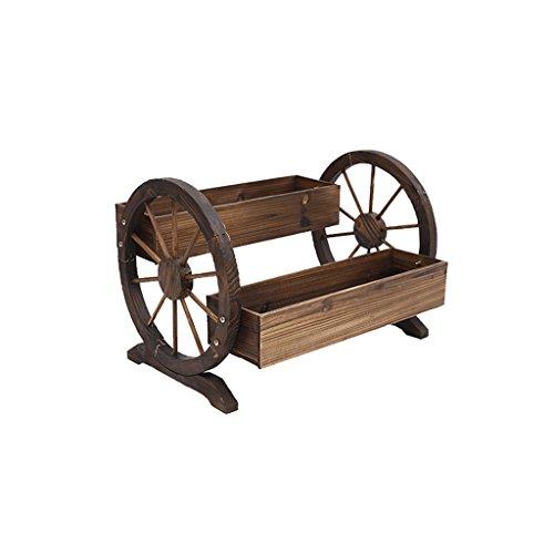 Pots de roue en bois massif, extérieur, jardin, supports de pot de jardin, supports en bois de balcon, boîte à fleurs, double, couleur carbonisée, 70 * 48 * 50cm.