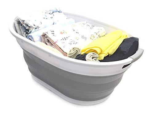 SAMMART Faltbarer Wäschekorb aus Kunststoff - Ovale Wanne/Korb - Faltbarer Aufbewahrungsbehälter/Organizer - Tragbarer Waschtrog - Platzsparender Wäschekorb (Grau)