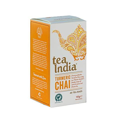 Tea India Turmeric Chai Teabags 4 x 40 (160 Teabags Total) Rainforest Alliance Certified Chai Tea