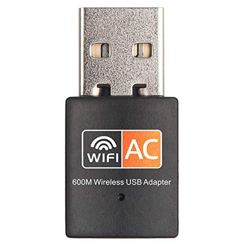 Gedrag WiFi Dongle, Draagbare Mini USB Draadloze Adapter 802.11ac Dual Band 600 Mbps 2,4-5,8 GHz Draadloze Netwerkadapter voor Desktop Laptop, Ondersteunt Windows(Zwart)