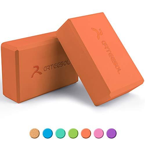 arteesol Eva Yoga Block Set, Yoga-Stein aus hochdichtem Schaumstoff mit Yoga-Gürtel, Yoga-Zubehör für Yoga, Meditation, Pilates, Stretching 2er Pack (Orange-2 Pack)