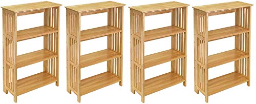 Winsome Wood Foldable 4-Tier Shelf, Natural (Pack of 4)