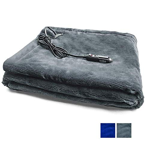 "ISKETCH 12V Electric Heated Car Blanket, 59"" x 39"" Odorless Soft Travel Heating Blanket for Universal Cars Trucks SUVs RVs"