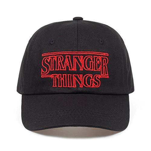 AJSJ Stranger Things Dustin Katoen% Baseball Caps Hoeden Zomer Zwart Dad Caps Heren Verstelbare Zomer Shapback Golfhoed, Zwart