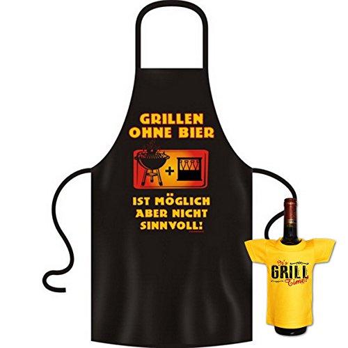 Biertrinker Geschenke Set für Männer - Grillschürze Grillen ohne Bier mit Mini Shirt It´s Grill Time - Grill Accessoires