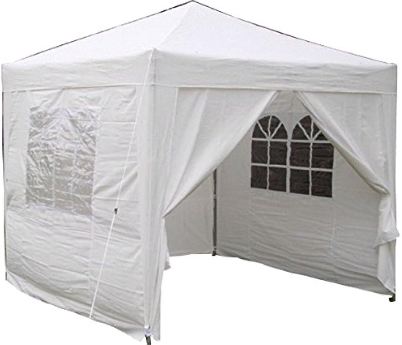 Airwave Pop-Up-Pavillon, 2,5 x 2,5 m, wei, wasserfester GartenPavillon, 2 Windstangen und 4 Gewichte Taschen für die Beine
