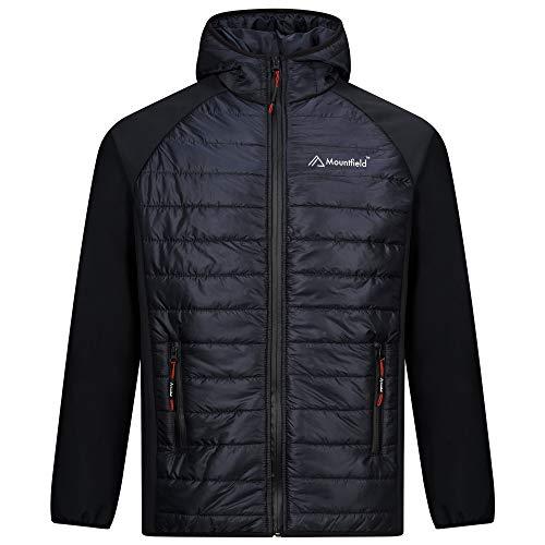 Mountfield Chaqueta acolchada de burbujas para hombre, con capucha, impermeable, cremallera completa, estilo 6