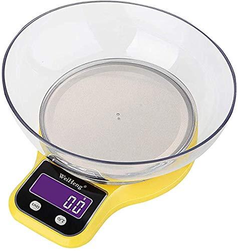 Keuken weegschaal met een gewicht van Bowl Koken Schaal Grams Wegen, LCD Mini Elektronische roestvrij Platform digitale Schaal van het Voedsel,Yellow