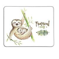ナマケモノの母親と赤ちゃん動物家族幸せ水彩自由奔放に生きる熱帯要素ライトブラウングリーン拡張ゲーミングマウスパッドW16xL24