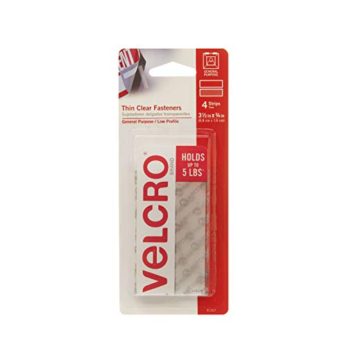 VELCRO Brand - Thin Clear Fasteners | Perfect for Home or Office | 3 1/2in x 3/4in Strips | Pack of 4