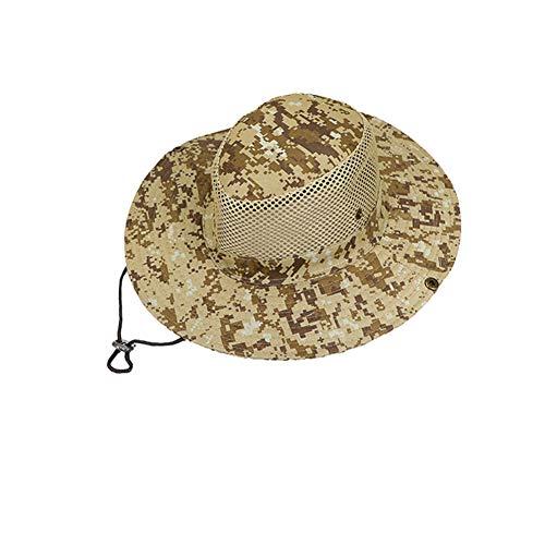 Sombrero De Cubo De ala Ancha De Camuflaje De Malla Transpirable Al Aire Libre, Protección Solar, Pesca, Senderismo, Gorras De Cubo De Camuflaje Blanco Crema