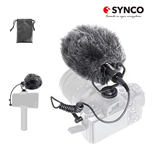 SYNCO Mic-M1 On-Camera Shotgun Mic Video Microphone with Shock Mount Windshield for DSLR, Camera, Smartphone, Camcorder, Audio Mixer, Recorder, PC