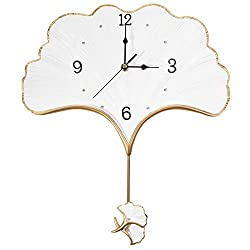 Keenkee Elegant Wall Clock with Pendulum Battery Operated Non Ticking Silent Unique Home Decorative Fancy Hanging Clocks for Living Room, Kitchen, Bedroom, Office, Dining, Bathroom Aesthetic Decor