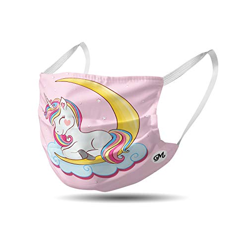 Mascherina bambini in cotone lavabile - riutilizzabile - comoda con elastici vari colori e fantasie (unicorno)