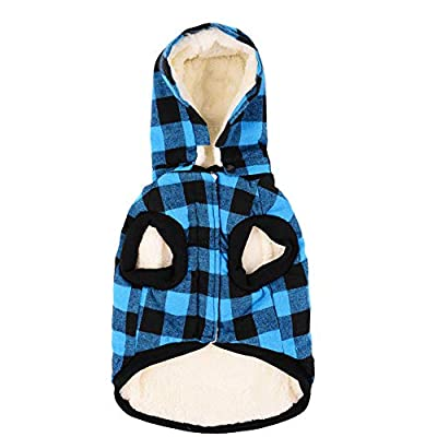 Tineer Large Dog Clothes Pet Sweater Dog Grid Clothing Warm Removable Puppy Cute Hooded Coats Plaid Jacket Hoodies 6 Sizes (XXL, Blue)