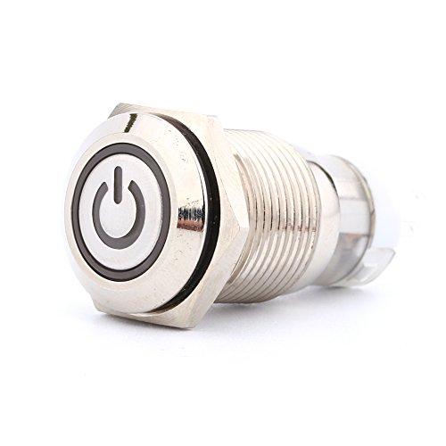 Interruptor de Botón de Enclavamiento de 16 mm/Conexión Interruptor de Boton Pulsador 12 V Interruptor de Encendido/Apagado de LED de metal 1NO-1NC