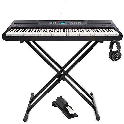 Alesis Recital Pro Set de 88 touches avec mécanisme marteau, 12 sons de qualité supérieure, polyphone, mode d'exercice, fonction enregistrement, support pour clavier et écouteurs Noir