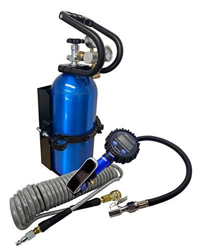 10 lb Co2 Carbon Dioxide Cylinder, High Flow 250 PSI Co2 Regulator, Protective Handle, Vehicle Cylinder Mount Bracket, 300PSI Tire Inflator and Hose, Digital Inflating Off Road Tire System