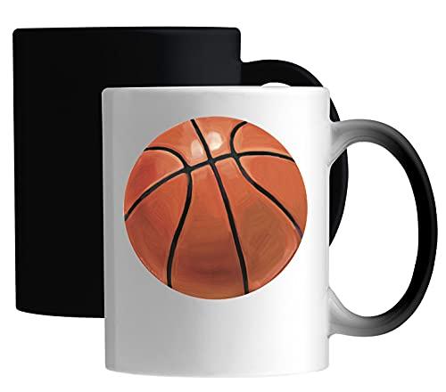 Desconocido Basketball Painting Style Ball Graphic Taza mágica de cerámica Blanco