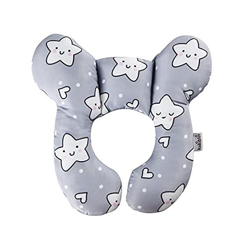Baby U-förmiges Kissen, Baby Reisekissen Säugling Kopf- und Nackenstützkissen für Autositz, Grauer weißer Stern, Einheitsgröße