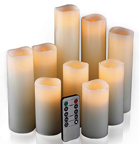 Flameless Candles, Set of 9