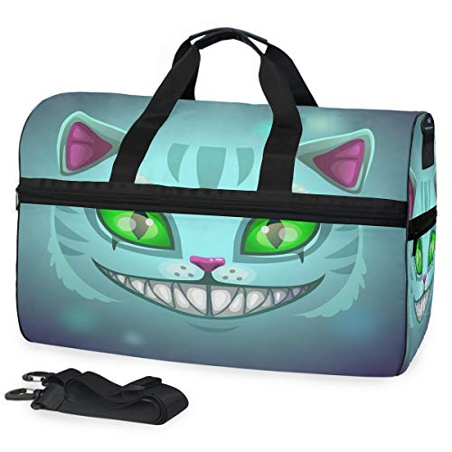 Oarencol Fantasy Scary Laugh Cat Face Cheshire Green Eye Halloween Travel Duffel Bag Overnight Weekender Bag with Shoes Compartment for Men Women