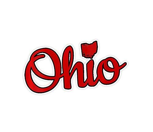 3 unids pegatinas para mujer lindo Ohio rojo guión OH mapa amor casa Buckeye estado cuello en V - 3 × 4 pulgadas pegatinas de pared para