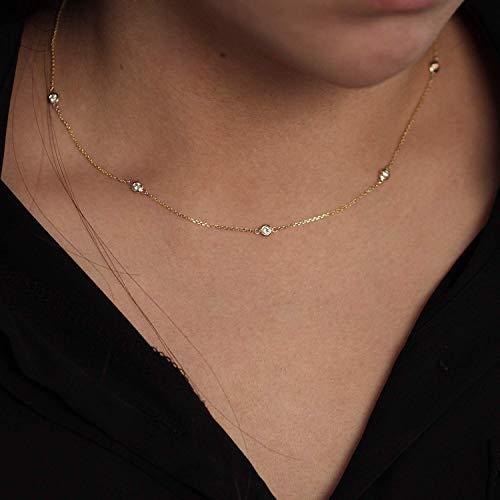 Diamond By The Yard Necklace / 5 Bezel Diamond Station Necklace/Natural Diamond Bezel Necklace/Diamond Wedding Necklace