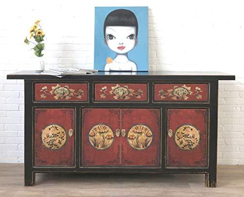 OPIUM OUTLET Aparador chino, negro y verde, estilo asiático, ideal para bodas o salones, estilo vintage