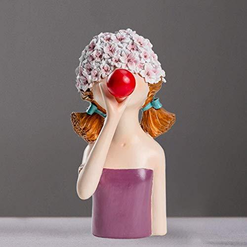 TEAYASON Escultura de Cabeza Humana de Resina Creativa, Mesa de Sala de Estar en Casa, Adornos de Escritorio, Estatua de Arte, Linda Estatua de Niña con Burbujas Que Sopla a 14.2 * 12.5 * 21.5Cm,B