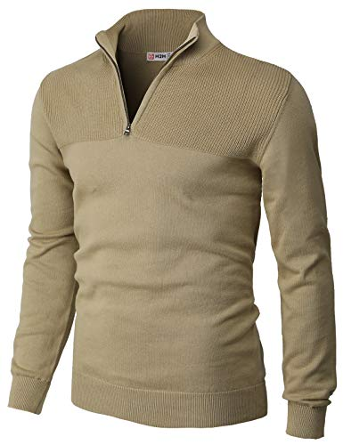 H2H Mens Casual Slim Fit Pullover Sweaters Long Sleeve Knitted Fabric Tops 1/4 Quarter Neck Style Beige US L/Asia XL (CMOSWL057)
