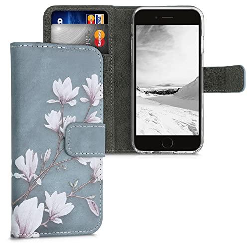 kwmobile Custodia Compatibile con Apple iPhone 6 / 6S - Cover Portafoglio Pelle Sintetica con Chiusura Magnetica - Porta Carte Magnolie