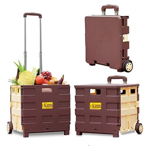 Einkaufstrolley Einkaufswagen 45 L klappbar bis 30kg, Einkaufstransportwagen Klappbox Shopping Trolley Faltbox mit Rollen,Verstellbarer Griff,Brown