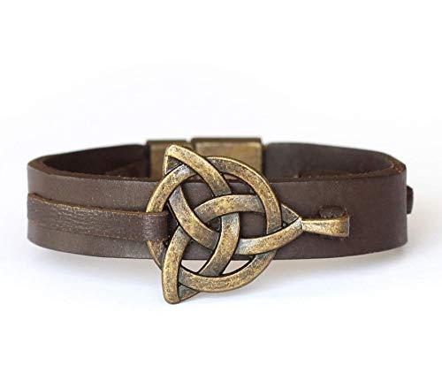 Leather Celtic Knot Triquetra Bracelet