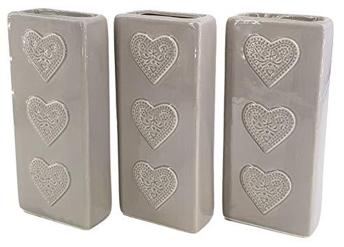 Hochwertige Luftbefeuchter 3-teiliges Set - 270ml - für Heizung aus Keramik - glänzend glasiert - Wasserverdunster Verdamper verdunster Klima - Herzen - grau