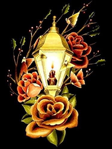 Rompecabezas para Adultos, Rompecabezas de Pieza de 300 difícil para Adultos y Adolescentes, lámpara de Calle de Vela, Juguetes de Rompecabezas para la Familia 52x38cm