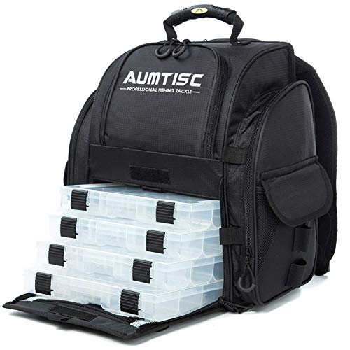 AUMTISC Fishing Backpack Large Capacity Tackle Bag with Protective Rain Cover and 4 Trays Tackle Box (Black)