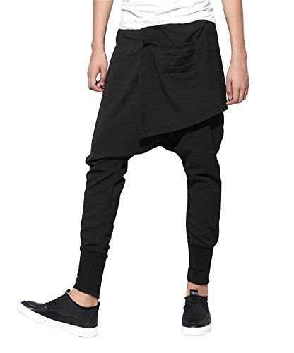 ellazhu Mens Casual Elastic Waist Harem Pants Joggers for Men Trousers GYM109 Black