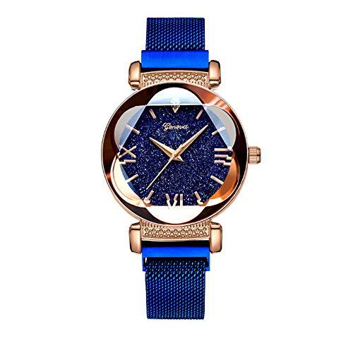 Reloj de Oro Rosa Mujer Red Star Net succión Hierro Cinturón de Malla duraderos de la Mujer,Azul