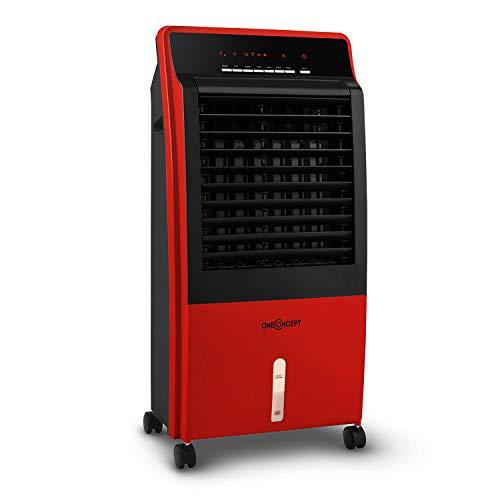oneConcept CTR-1-4-in-1 Luftkühler, Ventilator, Luftbefeuchter, Luftreiniger, Ionisator, Wassertank: 8 Liter, Luftdurchsatz: 360 m³/h, 65 W, mobil, Fernbedienung, Lavarot