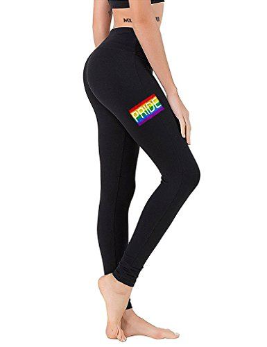 Junior's Pride Rainbow Flag Chest Black Athletic Workout Leggings One Size Fit Most