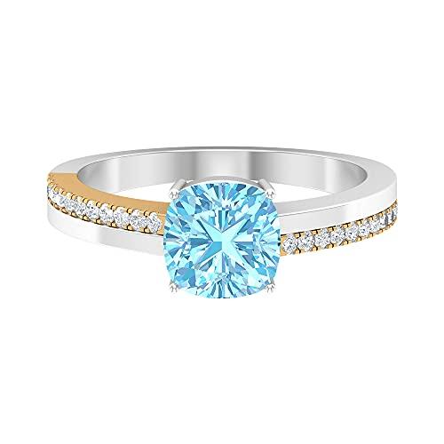 Rosec Jewels 14 quilates oro amarillo cojín Round Brilliant Blue Aquamarine Moissanite